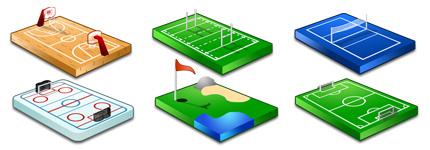 体育竞技运动立体场地图标