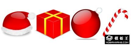 红色水晶立体圣诞节图标