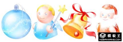 圣诞节卡通水晶闪光图标