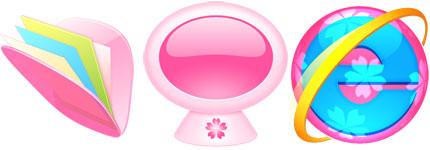 可爱的日本樱花形象系统主题透明图标