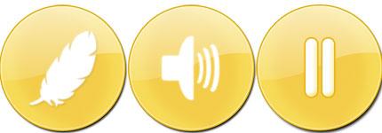金色圆型水晶按钮透明电脑图标