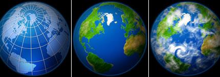 精美的地球电脑透明图标