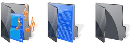 黑色透明Vista系统文件夹图标