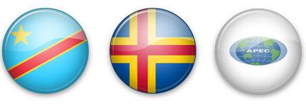水晶立体圆形的各国、地区国旗图标