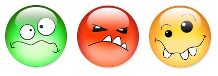 表情夸张的水晶卡通表情图标
