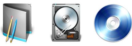 电脑硬盘、光盘等存储介质图标