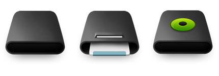 黑色圆滑曲面的电脑磁盘图标