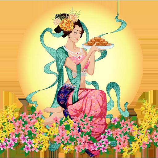 qq腾讯微博图标_中秋节之嫦娥奔月,PNG_模板王图标大全